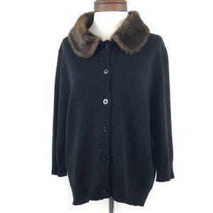 Torrid Black Cardigan w Faux Fur Trim Neck Plus Sz